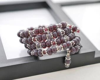 Purple Bracelet, Wrap Bracelet, Memory Wire Bracelet, Beaded Bracelet, Boho Bracelet, Violet, Handmade Bracelet, One of a Kind, Gift For Her