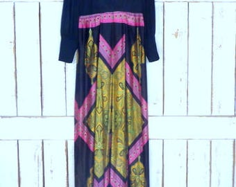 Vintage 70s psychedelic paisley print sheer wide leg palazzo pant jumpsuit/long sleeve jumper/1970s one piece
