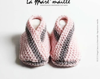 baby booties handknit cotton pink and grey pond ' mesh