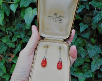 Mappins Antique Edwardian Coral Drop Earrings. 935 Silver Marcasite 14K Gold Carved Red Coral. Art Deco Art Nouveau Jewelry, Original Case.