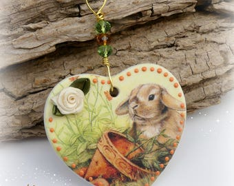 Easter Bunny Porcelain Heart,  Hanging Heart Decoration, Gift Idea, Easter Gifts