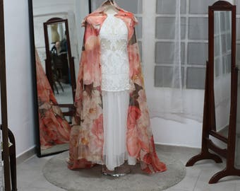 Wedding bridal cloak pink roses ivory cream vanille chiffon (polyester) cape with hood handfasting Medieval Wedding Cape