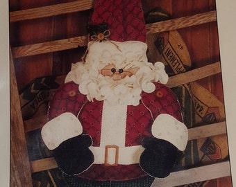 Country Button Santa Pattern -  by Happy Hallow Designs, Santa decoration, Christmas decor