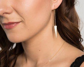 Triangle Dangle Earrings // Geometric Jewelry // Dangle, Long Earrings // Chain and Triangle Earring // Chain Earrings // Girlfriend
