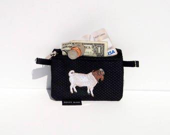 Boer Goat Coin Purse on Black