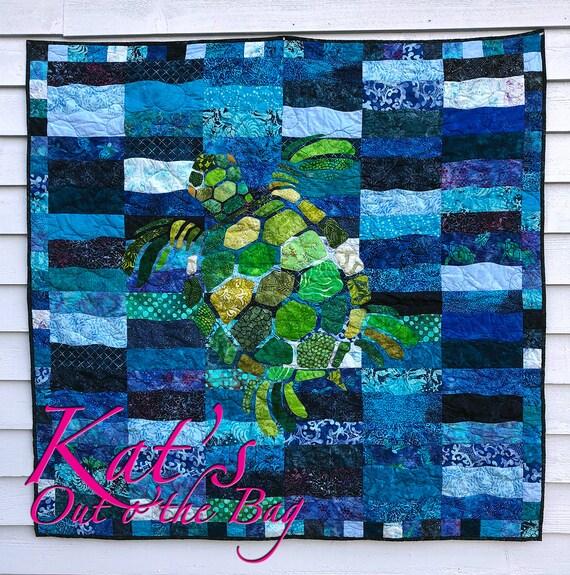 Sea Turtle Quilt Sea turtle Blanket Custom Turtle Quilt : sea turtle quilt pattern - Adamdwight.com