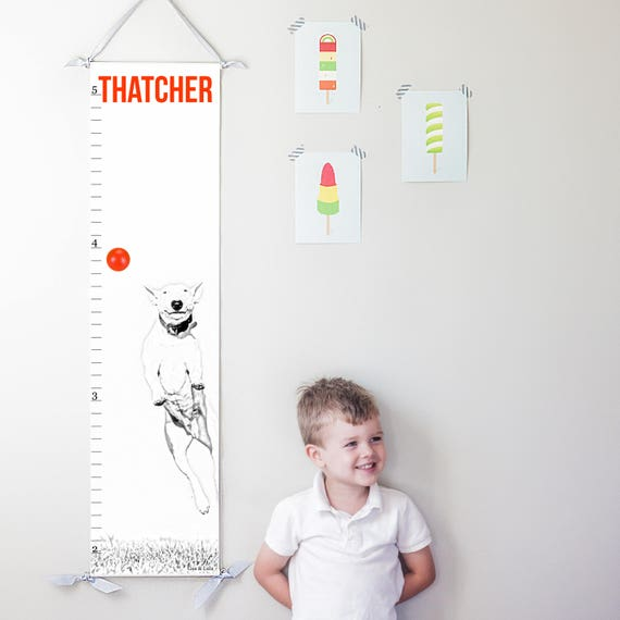 Dog canvas growth chart with red accents