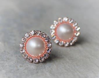 Rose Gold Earrings, Rose Gold Pearl Earrings, Rose Gold Wedding Jewelry, Bridesmaid Jewelry Gift, Bridesmaid Earring Gift