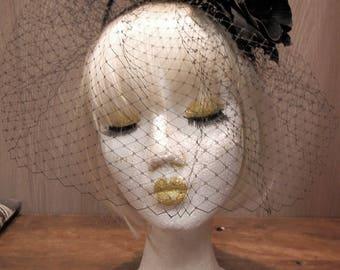 Custom Black Veil Headdress , Gothic Lolita Fascinador