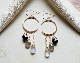 Dark Moon Earrings, Crescent Moon Dangle, Celestial Hoop Earrings, Labradorite Moonstone Hoops, Half Moon Hoop Earrings