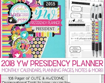 2018 YW Presidency Planner, YW Theme Peace in Christ, LDS Young Women, Calendar, Organizer - Printable Instant Download