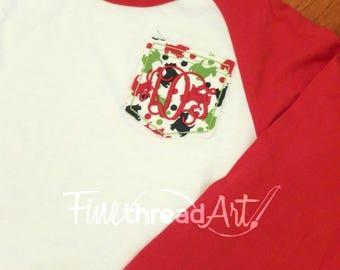 Monogram Christmas Pocket Baseball Tee TShirt Raglan Sleeve Shirt Team Colors Little League Mom Plus Size Available Bachelorette Bridal