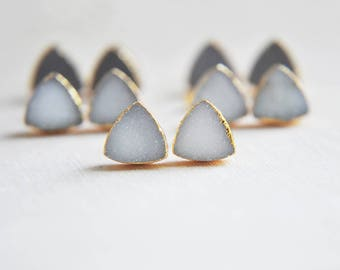 Druzy Earrings, Druzy Stud Earrings, Gold Druzy Earrings, Triangle Earrings, Druzy Stone Earrings, Stud Earrings, Raw Stone, Natural Stone