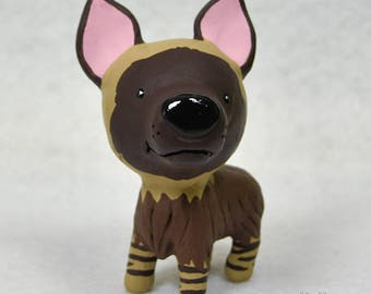 Hand Sculpted Brown Hyena Derp Figurine
