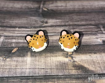Hand Sculpted Jaguar Earrings Posts Studs
