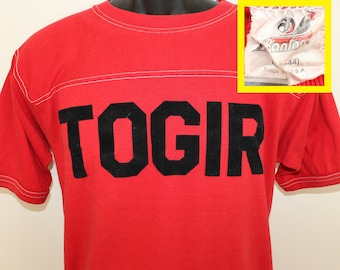TOGIR fuzzy letters vintage t-shirt M/L red 80s Bantam brand cotton polyester