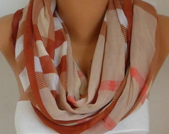 Brown&Beige Pink Plaid Cotton Scarf,Soft,Tartan Scarf,Christmas,Birthday Gift,Cowl, Oversized Gift For Her, Women Fashion Accessories