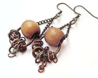 Post Apocalypse Earrings, Beaded Chain Dangle Earrings, Brown Wooden Bead & Chain, Decorative Chain Earring, Steampunk, Tribal Gypsy Jewelry