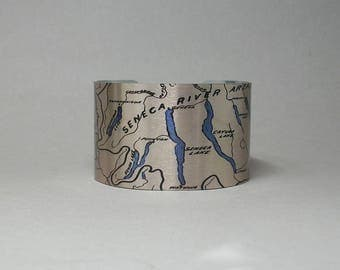 Finger Lakes Cuff Bracelet Upstate New York Map Unique Gift for Men or Women Keuka Honeoye Conesus