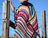 Crochet Poncho XL Neon Colors and Stripes