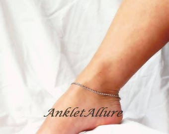 Silver Anklet Chain Anklet BEACH PROOF Stainless Steel Anklet GUARANTEE