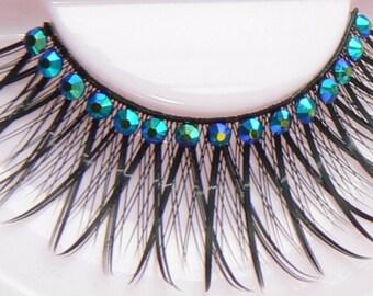 Fake Eyelashes Crystal False Lashes Sparkly Blue Green Gold Unicorn Rainbow Diamante