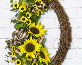 Sunflower Wreath, Sunflower Decor, Oval Wreath, Door Decor, Oval Grapevine