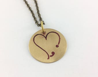 Semicolon heart necklace, inspirational jewelry, motivational jewelry, semicolon project, grammar jewelry, heart semicolon pendant