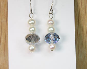 White Freshwater Round Pearls & Faceted Crystal Roundel Earrings with Sterling Silver hooks E2177