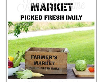 Farmers Market Vintage Sign Stencil for painted signs, crates, pillows, DIY home decor