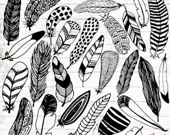 Boho Feather Clipart - Hand Drawn feather Clipart - Vector Tribal Art - Boho Digital Paper - Feather Clip Art - Boho Illustration - ACGABW03