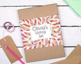 Writing Set - Personalised Writing Set - Illustrated Flamingo Feathers letter writing set