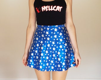 Shiny Blue Star Print Skater Skirt