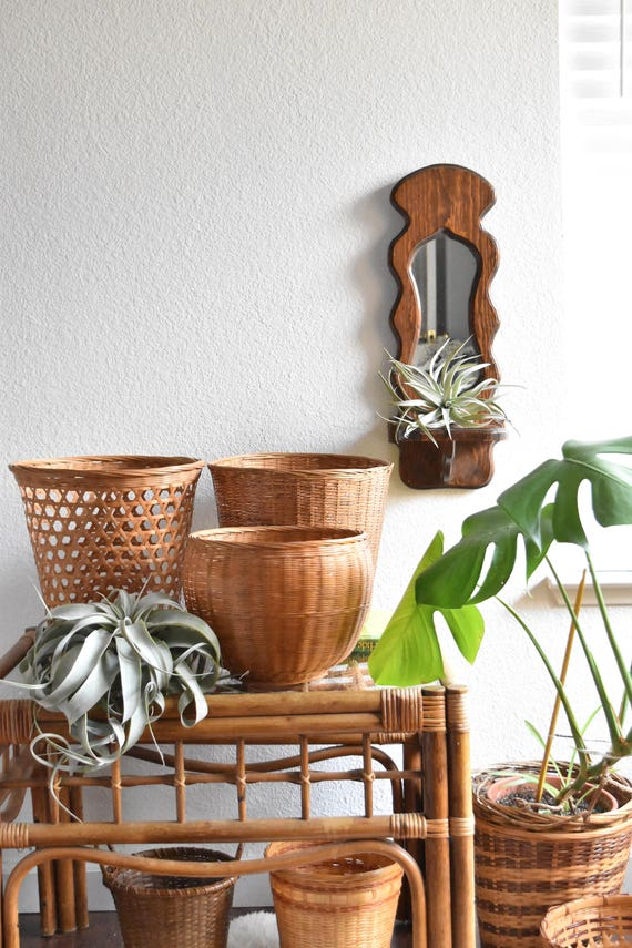 vintage wooden bohemian wall hanging mirror planter / wall shelf
