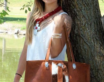 Cowhide and Leather Diaper Bag or Market Tote