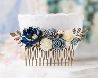 Navy Blue Wedding Hair Comb, Navy Blue Bridal Comb, Large Gold Dark Blue Gray Dusty Blue Ivory Rose Flower Antique Gold Leaf Hair Piece