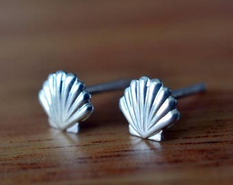 Silver Shell Earrings, Handmade Tiny Seashell Studs, Beach Wedding, Bridesmaids Gift, Women's Seaside & Ocean Charm Jewelry