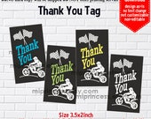 Instant Download, 888 Dirt bike, Motocross, thank you gift , boy party, Thank you TAG, 3.5x2inch printable  , non-editable NOT CUSTOMIZABLE