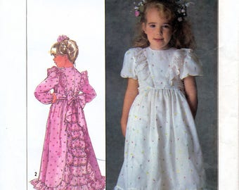Simplicity 7982 Vintage 80s Sewing Pattern for Child's Dress with Attached Slip - Uncut - Size 6