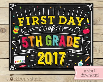 First Day of 5th Grade Sign - First Day of School Sign Printable - Back to School - 1st Day of 5th Grade - First Day of Fifth Grade Sign