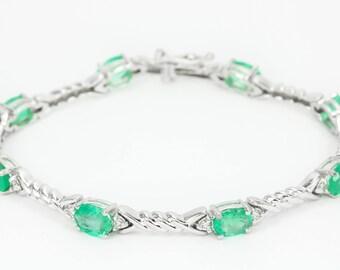 14K 10.60tcw Modern Tennis Bracelet, Gold Tennis Bracelet,Emerald Tennis Bracelet, Emerald Bracelet,Emerald Diamond Tennis Bracelet,Diamond