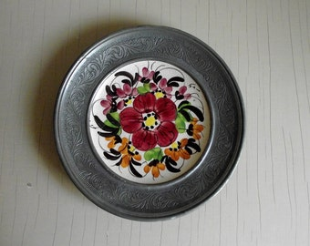 Hand Painted German Floral Plate , Handgemalt Wall Plate in Pewter Frame , Decorative Plate Wall Decor , Mid Century Boho Decor