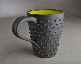 Spiky Coffee Mug Ready To Ship Green and Black Dangerously Spiky Coffee Mug by Symmetrical Pottery G01