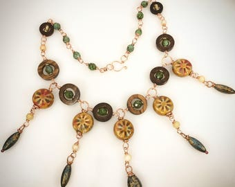 Boho ChicArt Necklace with Vintage elements in Turquoise Brown and Orange on Copper wire - Wheel of Time - Art Finge Necklace