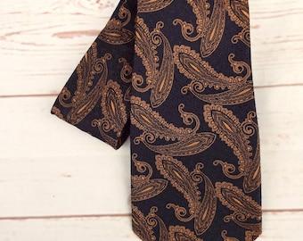 Paisley Tie - Bronze Tie - Vintage Tie - Men's Vintage Tie - Vintage Necktie - 1970s Men's Tie - Men's Bronze Tie - 70s Necktie