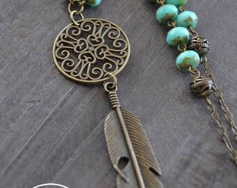 Collier plume - Bijou bohémien - Turquoise - Collier perles turquoise - Collier bronze - Collier long - Gypsy - Coco Matcha