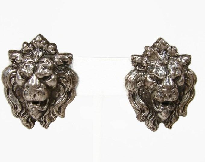 Vintage Repousse Lion Head Earrings