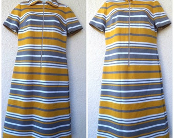 1960s SHIFT DRESS. MOD Dress. Scooter Dress.  Colorblock Dress. Striped Dress. Shift Dress. Textured Polyester Knit Dress. Twiggy Dress. M