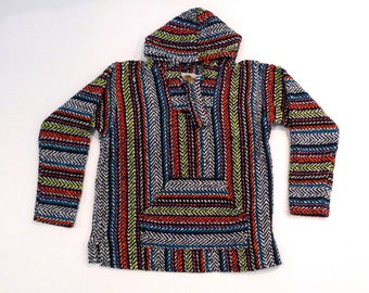 Baja Hoodie 1990s Vintage Zig Zag Rainbow Mexican Poncho Top S Small Medium Black with Multicolor Stripes Made in Mexico Blanket Festival