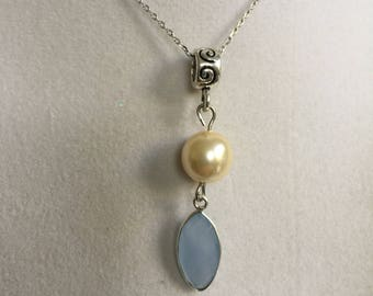 Light Blue Chalcedony and Pearl Silver Necklace